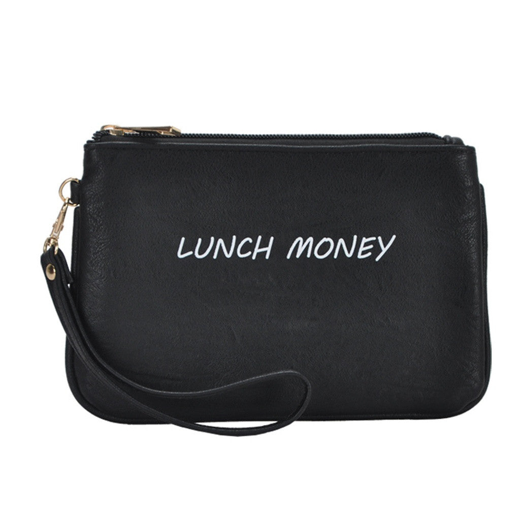Mechaly Women's Slogan Lunch Black Vegan Leather Wallet - House of Ke'Chic