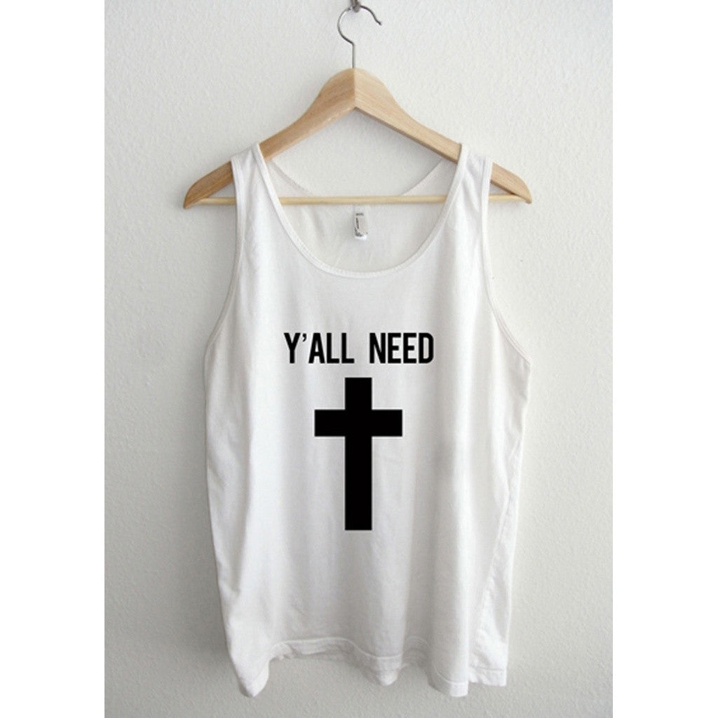 Y'All Need Jesus Cross Unisex Tank Top - House of Ke'Chic  - 1