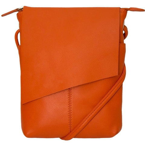 Leather Rawhide Flap Crossbody Bag - Orange