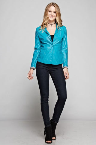 Blazing Leather in Teal