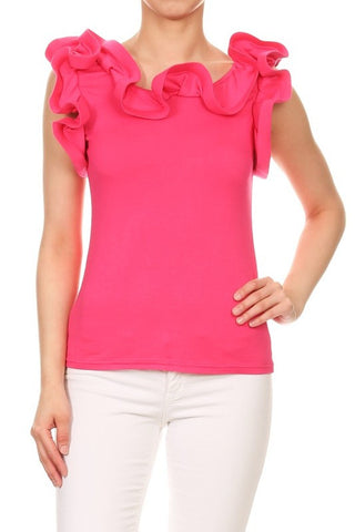 Ruffled Blouse in Hot Pink