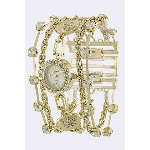 Gold Crystal Chain Band Watch