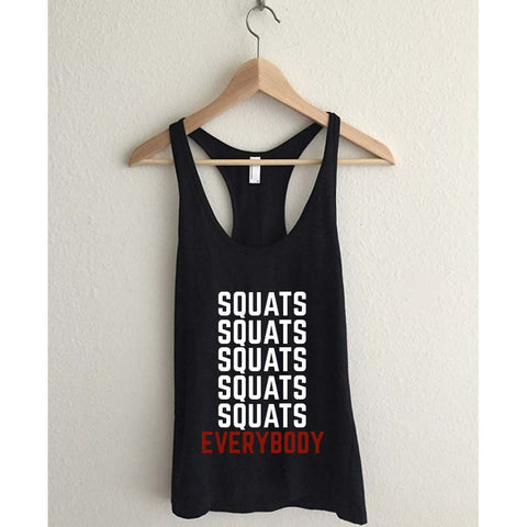 Squats Everybody  Racerback Tank Top