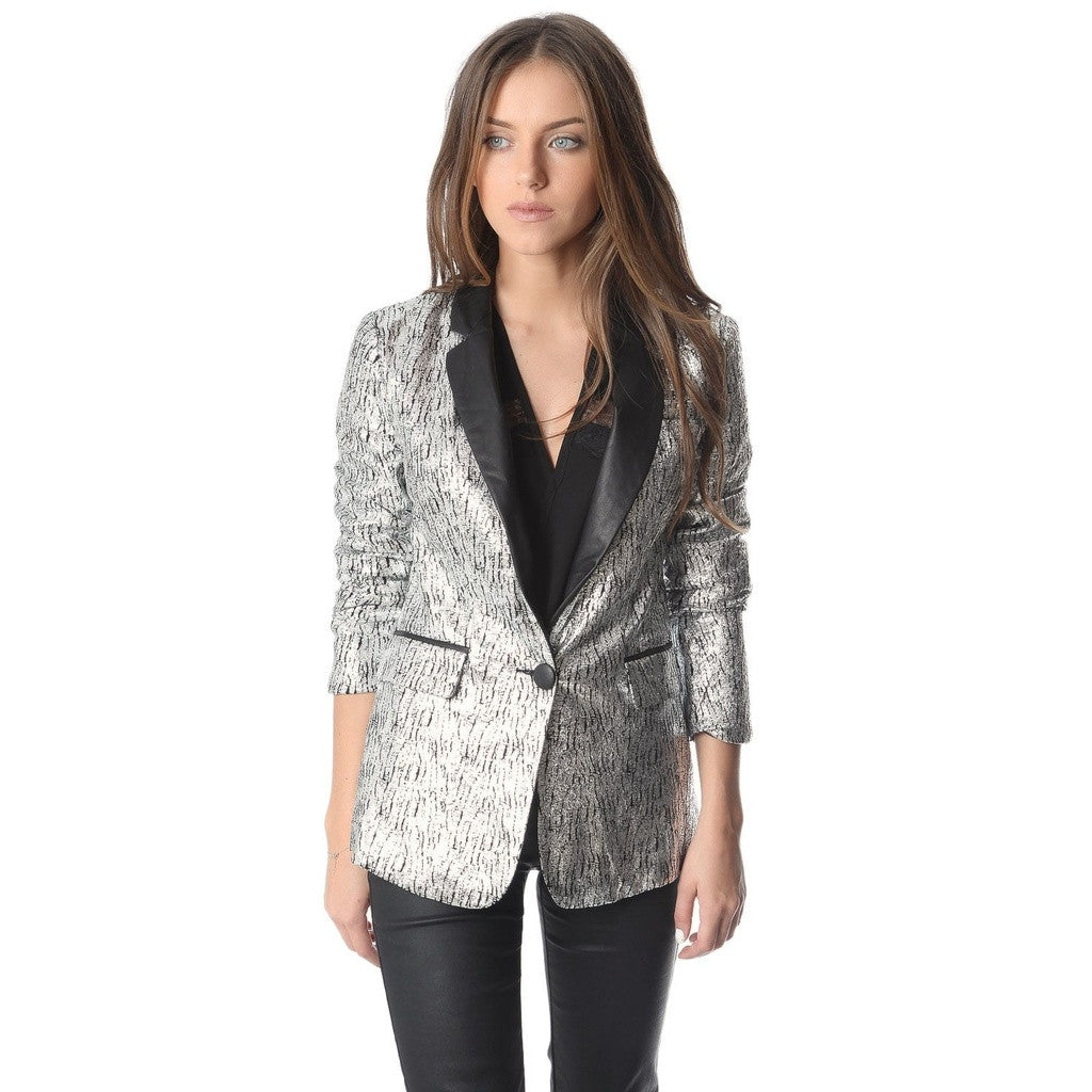 Silver blazer with metallic sheer and faux leather lapel - House of Ke'Chic  - 1