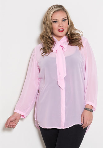 Marion Chiffon Top in Pink