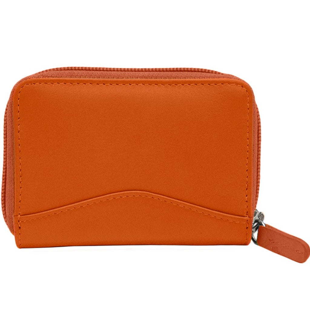 RFID Blocking Accordian Leather Credit Card Holder - Orange - House of Ke'Chic