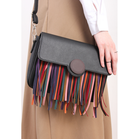 Korean Multi-Color Fringe Faux Leather Bag