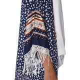 Navy blue longline kimono in floral print with fringe detail - House of Ke'Chic  - 4