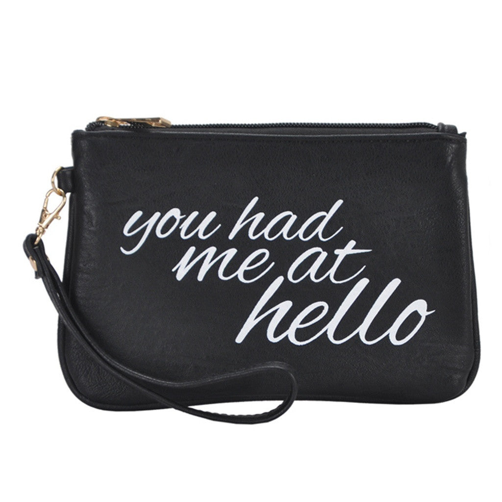 Mechaly Women's Slogan Hello Black Vegan Leather Wallet - House of Ke'Chic