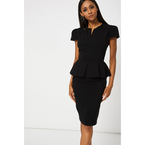 Black Peplum Pencil Dress