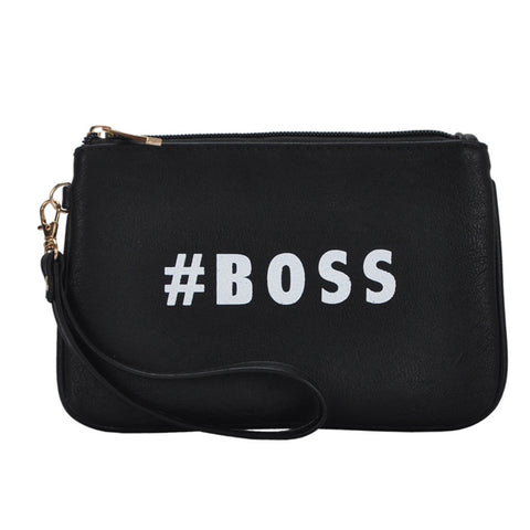 Mechaly Women's Slogan Boss Black Vegan Leather Wallet