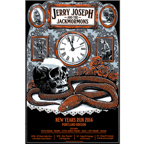 Red Roses Copper Snakes NYE Poster