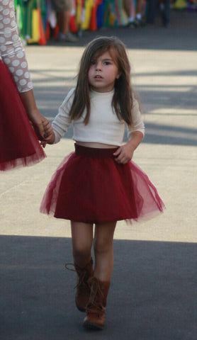 Girl's Burgundy Tulle Skirt