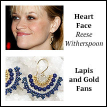 Heart shaped face reese witherspoon lapis gold fan earrings artisan jewelry los angeles