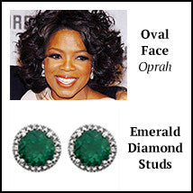 oval face shape oprah winfrey earring emerald diamond artisan jewelry los angeles