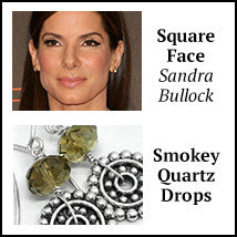Square face shape sandra bullock smoky quartz artisan earrings los angeles