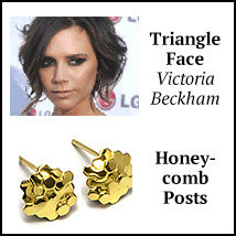 triangle face shape victoria beckham honeycomb gold post earrings