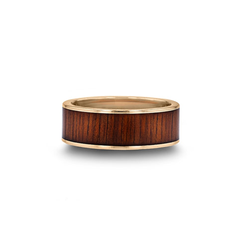 norosesjewelry.com - Los Angeles - 14k Gold and Koa Wood Band Ring