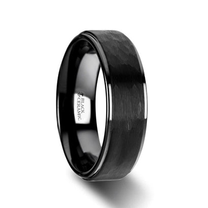 norosesjewelry.com - Los Angeles - Warrior Black Ceramic Hammered Band Ring