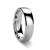 Domed Silver Tungsten Carbide Band Ring