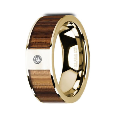 norosesjewelry.com - Los Angeles - Gia Tungsten, Zebra Wood and Diamond Wedding Band