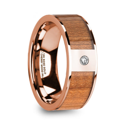 norosesjewelry.com - Los Angeles - Zenon 14k Rose Gold, Cherrywood and Diamond Wedding Band