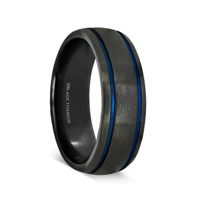 norosesjewelry.com - Los Angeles - Sheriff Black Titanium Wedding Ring with Blue Grooves