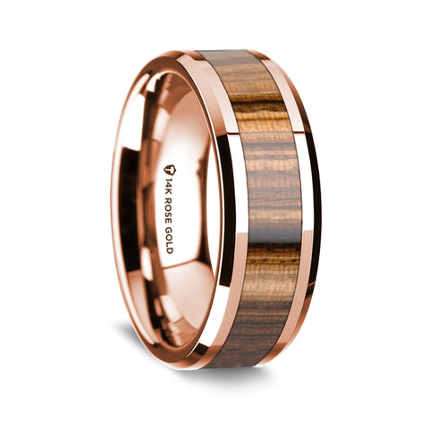 norosesjewelry.com - Los Angeles - Zebra and 14k Rose Gold Wood Wedding Band