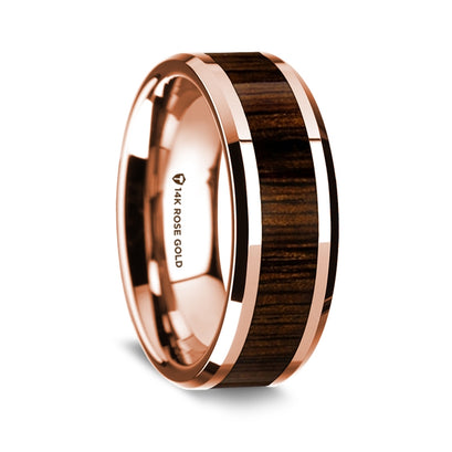 norosesjewelry.com - Los Angeles - 14k Rose Gold and Walnut Wood Wedding Band