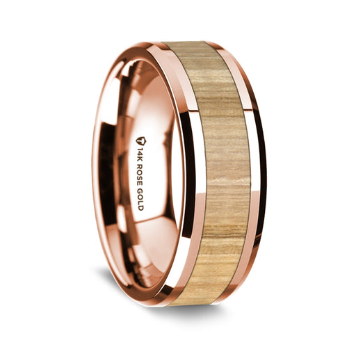 norosesjewelry.com - Los Angeles - 14k Rose Gold and Ash Wood Wedding Band