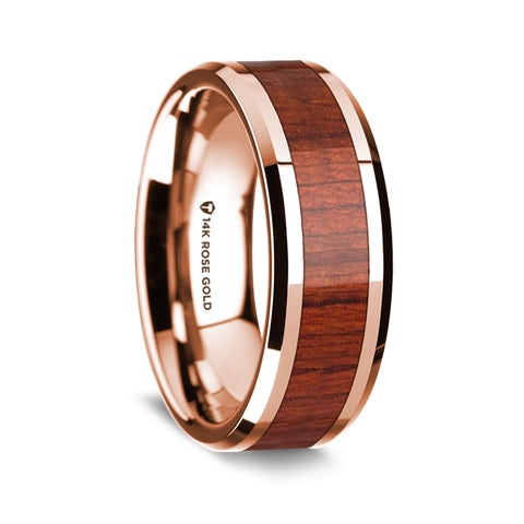norosesjewelry.com - Los Angeles - Padauk and 14k Rose Gold Wood Wedding Ring