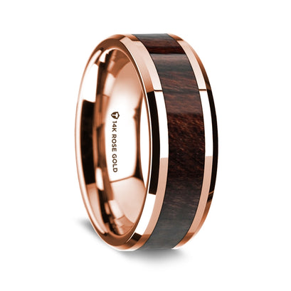 norosesjewelry.com - Los Angeles - 14k Rose Gold and Bubinga Wood Wedding Ring