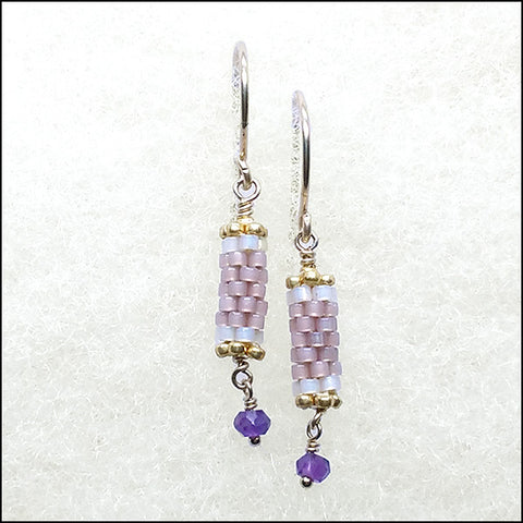 norosesjewelry.com - Los Angeles - Birthstone Bits Amethyst Earrings