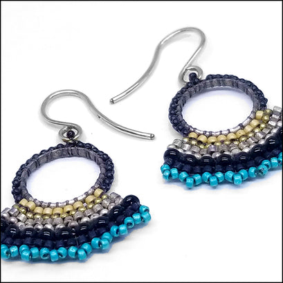 norosesjewelry.com - Los Angeles - Fan Earrings Black and Blue
