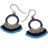 Fan Earrings Black and Blue