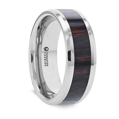 norosesjewelry.com - Los Angeles - Aztec Mahogany Wood and Silver Tungsten Ring