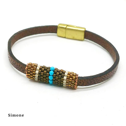 norosesjewelry.com - Los Angeles - Boho Band - Beaded Leather Bracelet with Magnetic Clasp