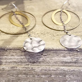 Lunar Drops Mixed Metal Hoop Earrings Statement Earrings