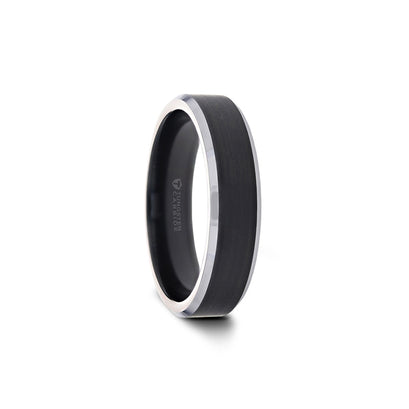 norosesjewelry.com - Los Angeles - Black Brushed Band Ring with Polished Silver Edges