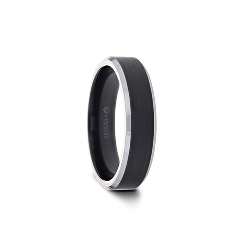 norosesjewelry.com - Los Angeles - Aston Black Brushed Band Ring with Polished Silver Edges
