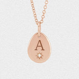 Diamond and Initial Pendant - Pear with Starburst