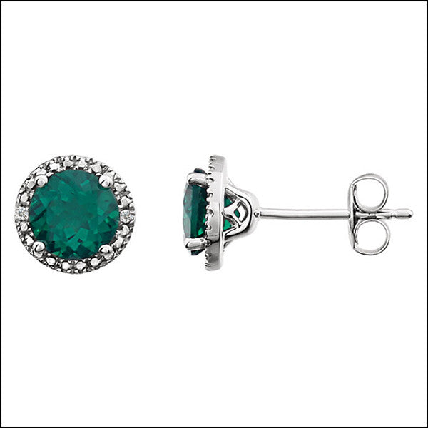 norosesjewelry.com - Los Angeles - Emerald and Diamond Stud Earrings