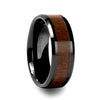 norosesjewelry.com - Los Angeles - Yukon Beveled Black Ceramic Ring with Walnut Wood Inlay