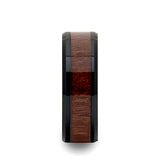 Yukon Beveled Black Ceramic Ring with Walnut Wood Inlay