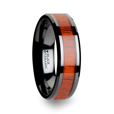 norosesjewelry.com - Los Angeles - Bosulu Paduak Wood and Black Ceramic Band Ring