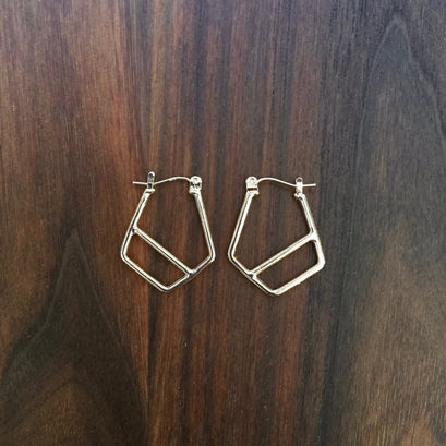 norosesjewelry.com - Los Angeles - Small Diagonal Hoop Earrings, Sterling Silver
