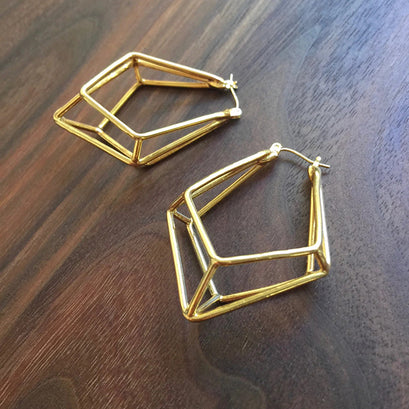 norosesjewelry.com - Los Angeles - 3D Kite Hoop Earrings, Gold