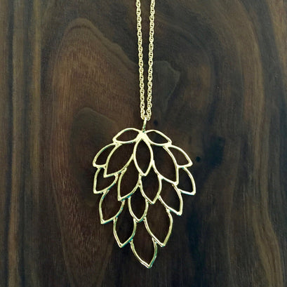 norosesjewelry.com - Los Angeles - Large Feather Necklace, Gold Long