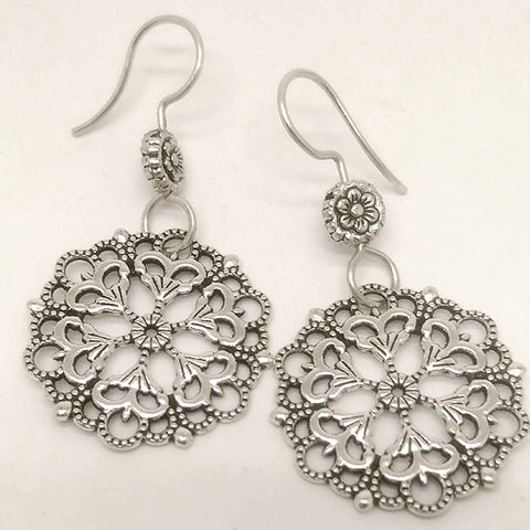norosesjewelry.com - Los Angeles - Mandala 01 Sterling Silver Earrings
