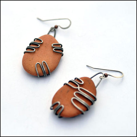 Terra Cotta Beach Pottery Earrings Large
